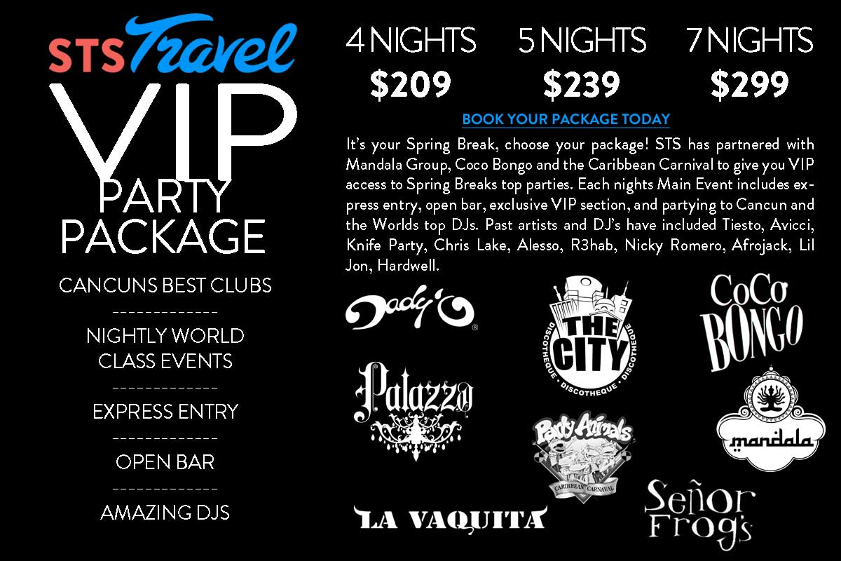 STS Travel Spring Break Cancun Music and VIP Party Package