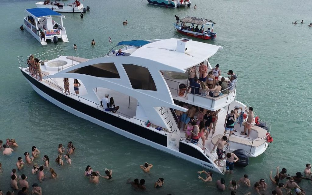yacht with spring breakers