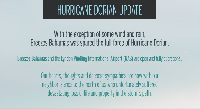 Hurricane Dorian Bahamas Updated: Breezes Bahamas